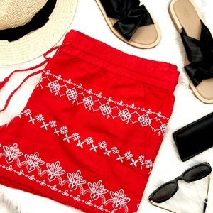 Red Embroidered Lightweight Woven Shorts